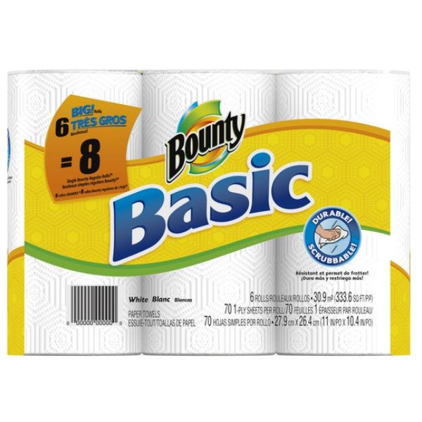 Lee más sobre el artículo Bounty Basic de 6 rollos a SOLO $0.49 por rollo en Family Dollar