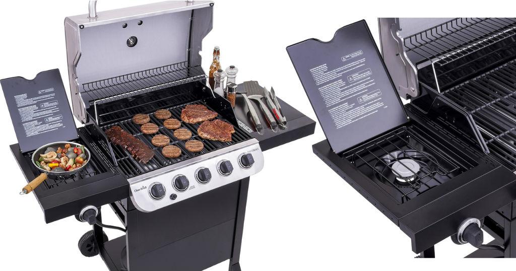 Lowe's: Char-Broil 5-Burner Gas Grill con hornilla lateral solo $169