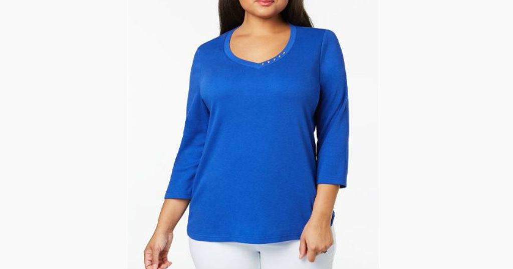 Lee más sobre el artículo Blusa Karen Scott Plus Size a solo $3.73 (Reg. $12.98) en Macys