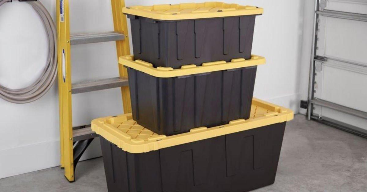 Cajas Plasticas de Almacenamiento HDX 27-Galones SOLO $8.98