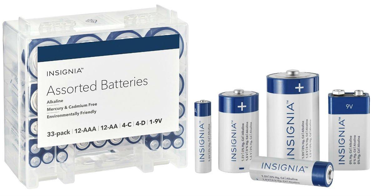 Baterias surtidas Insignia AAA, AA, C, D y 9V a solo $11.99 en Best Buy (Reg. $20)
