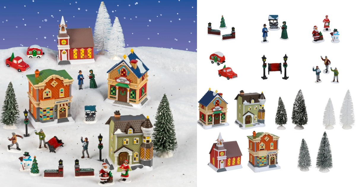 Cobblestone Corners 2019 Christmas Village Collection de 27-Piezas SOLO $13 en Dollar Tree