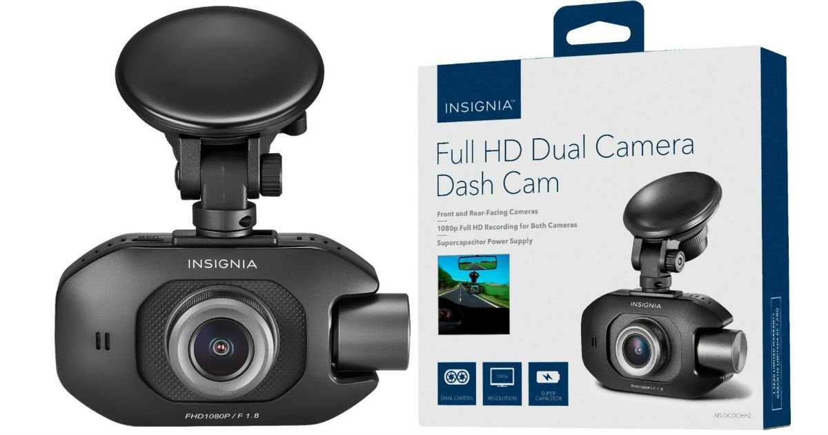 Insignia Full HD dual dash camera SOLO $69.99 en Best Buy (Reg. $100)