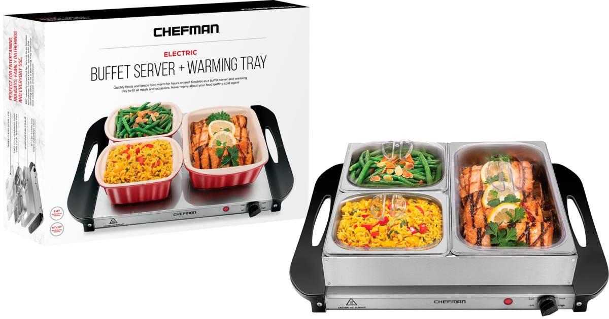 Servidor Buffet Eléctrico Chefman + Bandeja Calentadora a solo $29.99 en Best Buy
