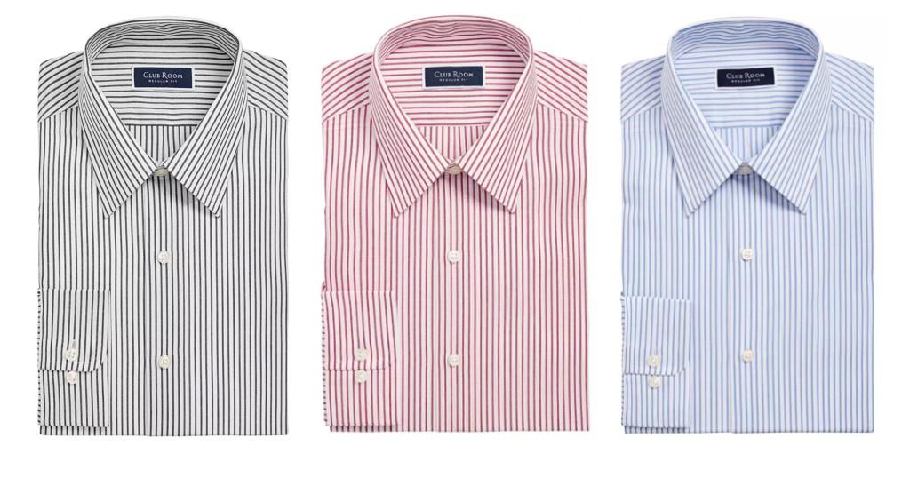 Camisas Club Room Classic Regular Fit Stripe a solo $10.99 (Reg. $45) en Macy's